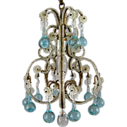 Petite Vintage Beaded Birdcage Chandelier Aqua Blue Prisms Powder Room Italian