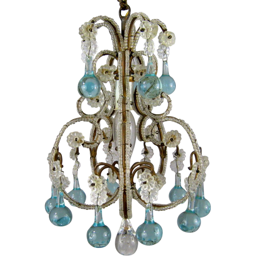 petite vintage beaded birdcage chandelier aqua blue prisms powder room italian - Birdcage Chandelier