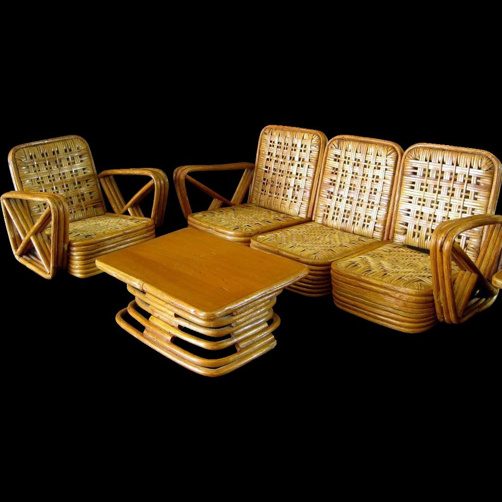 Paul Frankl Salesman Sample Rattan Furniture c 1950 Vintage Miniature  Florida Room Chair Sofa Table. Paul Frankl Salesman Sample Rattan Furniture c 1950 Vintage