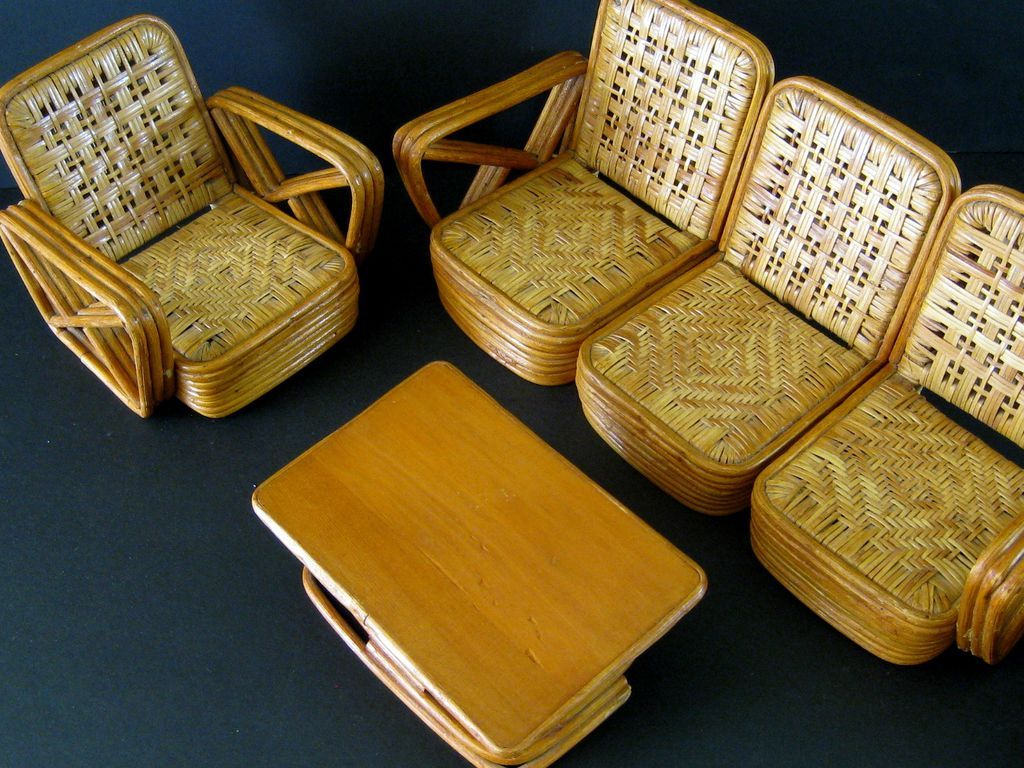 Paul Frankl Salesman Sample Rattan Furniture C 1950