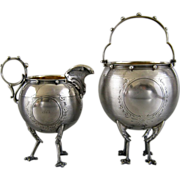 Antique Gorham Coin Silver Sugar Basket & Creamer c.1860 Chicken Leg