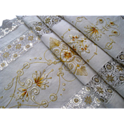 Antique Silk Embroidery Table Runner c.1900 Linen Lace Tablecloth