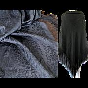 Victorian Black Silk Damask Shawl c1860 Antique Mourning