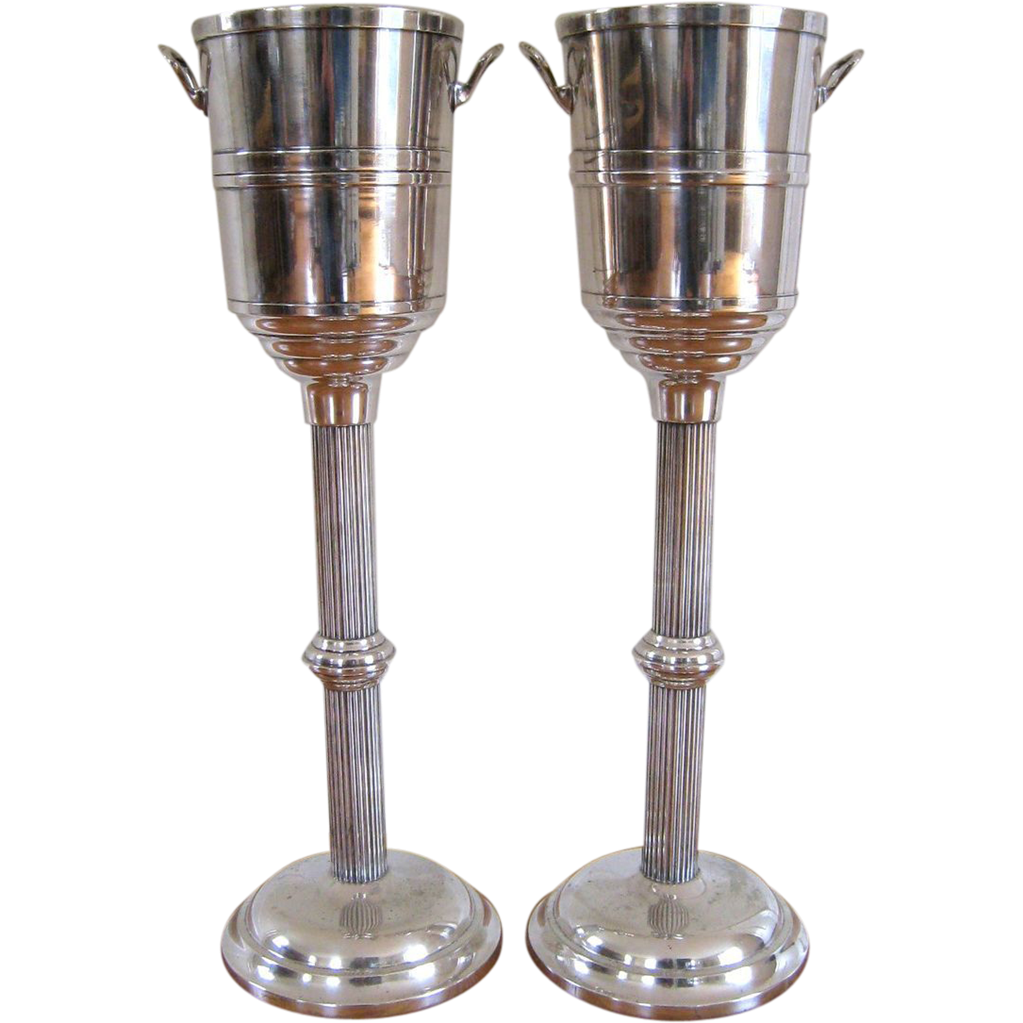 Pair Vintage Champagne Cooler On Stand Hotel Silver Plate Wine Bucket Sold Ruby Lane