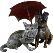 Pug Dog & Cat under Umbrella c1900 Vintage Heyde Metal Figurine