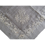 French Whitework Embroidered Handkerchief 19thC Antique Monogram
