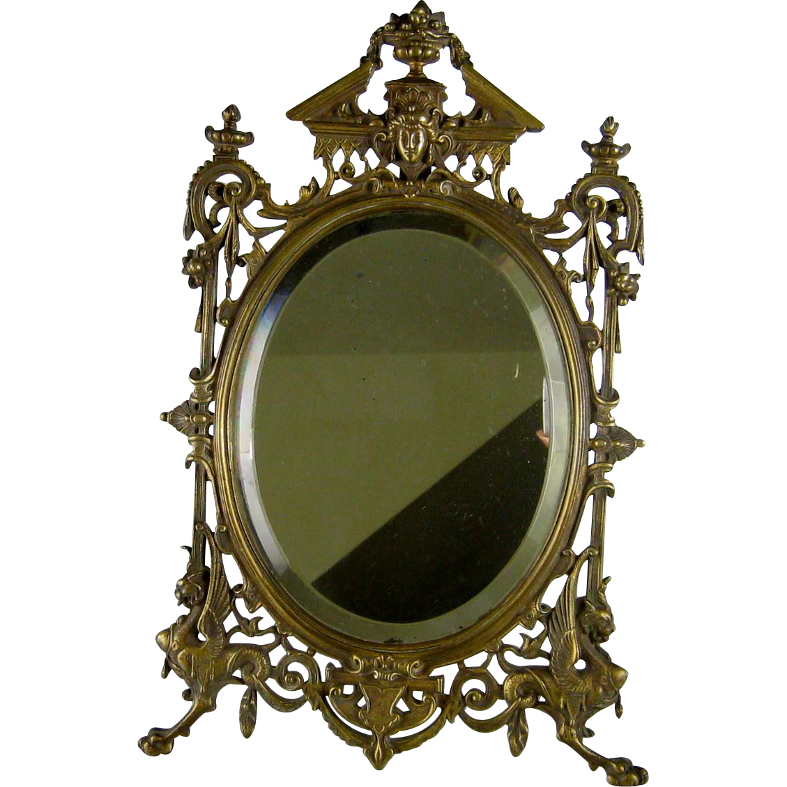 Renaissance Revival Bronze Vanity Table Mirror C1880 Victorian Antique From S