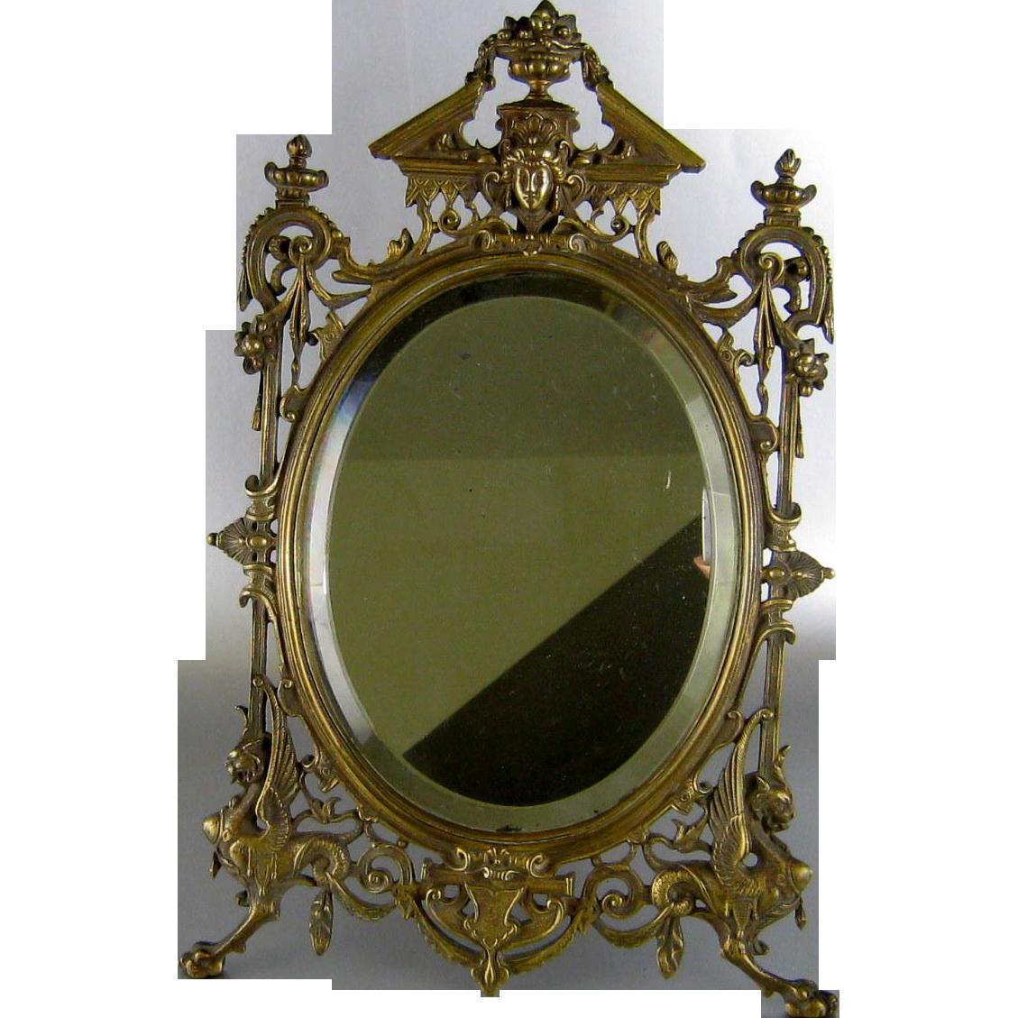 Renaissance Revival Bronze Vanity Table Mirror C1880