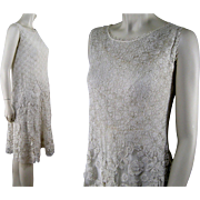 Irish Crochet Lace Dress c.1920 Vintage Art Deco Flapper