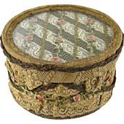 French Ribbon Rose Metallic Trim Trinket Box c1915 Antique Lace Dresser Jewelry Box