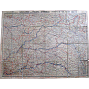 Environs De Paris Map Cyclists & Automobiles c.1905 Cartes Taride French Antique Folding Map