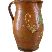 French Redware Pitcher c.1880 Antique Earthenware Pottery Jug