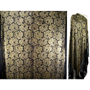 Art Deco Silk Lame Shawl c1920 Gold Roses Black Vintage Piano Scarf