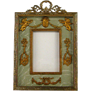 Gilt Bronze French Empire Style Picture Frame c.1870 Antique Ormolu Cherubs