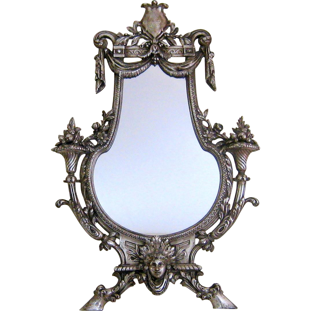 Silvered bronze vanity table mirror c1880 antique french for Victorian mirror