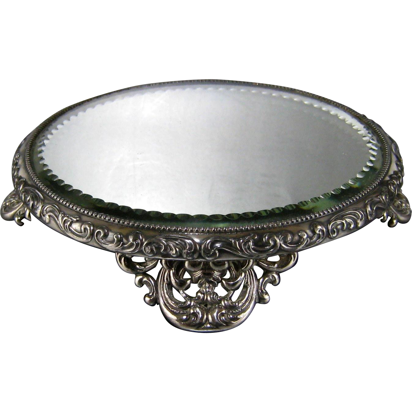 Silver Plate Plateau Mirror Antique 6 Quot Mirrored Tray From
