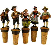 Collection 5 Carved Bottle Stopper Vintage German Wood Dancer Musician