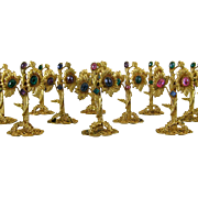 Jeweled Gilt Brass Place Card Holders 12 Vintage Czech Table Decorations