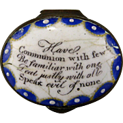 Battersea Enamel Patch Box Antique Georgian Motto