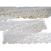 5.5 yds Point de Gaze Lace Trim Handmade Antique Edging Doll Clothing Bride