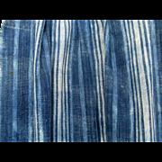 West African Indigo Stripe Handwoven Cloth Vintage Mali Textile C