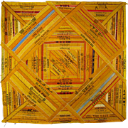 Silk Cigar Ribbon Quilt Piece c.1890 Antique Victorian Advertising Square