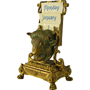 French Ormolu Perpetual Desk Calendar c1900 Antique Gilt Bronze Bull Bison Head