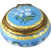 French Sky Blue Enamel Pillbox Antique Patch Box Lily of the Valley Flowers