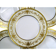 12 Minton Dinner Plates Raised Gold Vintage Porcelain White/Ivory/Gold
