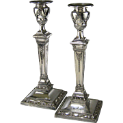 English Adam Style Silver Plate Candlesticks c.1850 Hawksworth Eyre & Co Antique Candle Stick