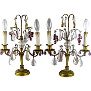 French Gilt Bronze Girandole Lamps c.1910 Antique Mantle Lamp Amethyst Grape Prisms