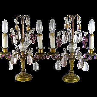 French Gilt Bronze Girandole Lamps c.1910 Antique Mantle Lamp Amethyst Grape Prisms
