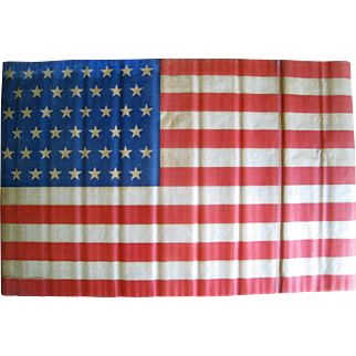 45 Star American Flag 1896-1908 Large Antique Parade Flag