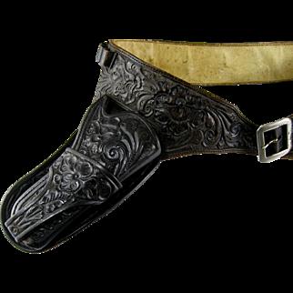 S D Myres Tooled Leather Gun Rig Vintage Belt Holster Ammo Western Cowboy
