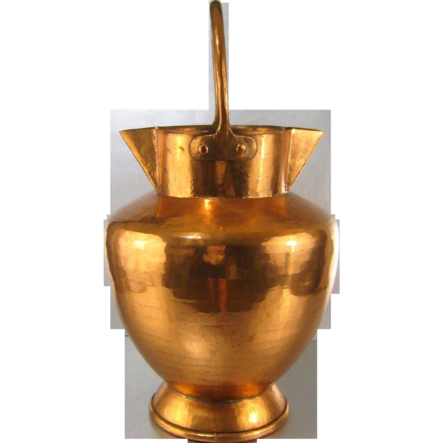 French Copper Milk Jug 19thC Large Antique Hammered