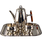 Christofle 3pc Silver Plate Tea Set Laque de Chine c1980 Vintage French Teapot Sugar Creamer Enamel Handles