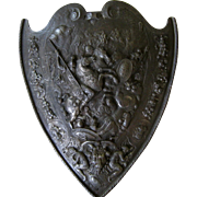 Cast Iron Medieval Style Shield c1900 Antique Renaissance Armor Plaque