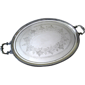 Large Victorian Silver Plate Tray c.1880 Antique Silverplate Waiter Service Tray