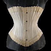 Victorian Lace Trimmed Corset c1890s Antique Lingerie