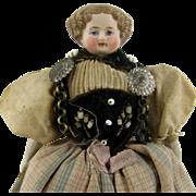 Parian Type Dollhouse Doll c.1860s Swiss Folk Costume Antique Original Clothes