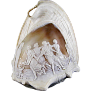 Victorian Cameo Carved Conch Shell c.1880 A Dance to the Music of Time after Nicolas Poussin