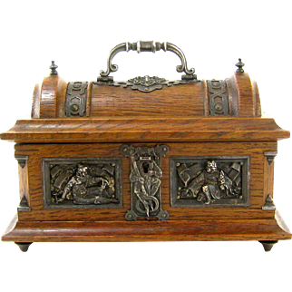 Oak Casket Silvered Mounts c.1890-1910 Medieval Style Silver Plated Decoration Antique Wood Box