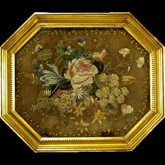 Pair (2) English Silkwork Embroidery c.1800 Antique Silk Needlework Framed