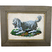 Victorian Beadwork Poodle Dog c.1880 Antique Micro Beaded Needlework Picture Framed