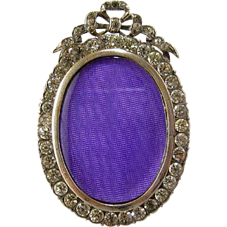 Miniature French Paste Jeweled Picture Frame c.1900 Antique Silvered Bronze Rhinestone Bow Top Fashion Doll Accessory