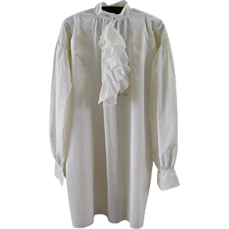 Early Man's Fine Linen Shirt 18th / 19th C Antique Hand Sewn Men's Dress Shirt