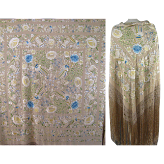 Embroidered Silk Piano Shawl Vintage Chinese Embroidery Scarf