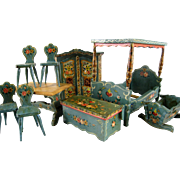 Dora Kuhn Dollhouse Furniture c1950 Vintage Hand Painted Bavarian Doll Canopy Bed Table Chairs Armoire Cradle Original Box