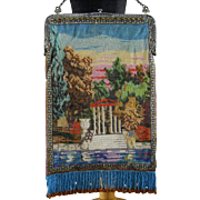 Micro Beaded Purse c.1920 Large Vintage Shimmering Scenic