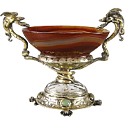Silver Mounted Agate Pedestal Dish with Serpents & Frogs Antique Salt Cellar Winged Dragon